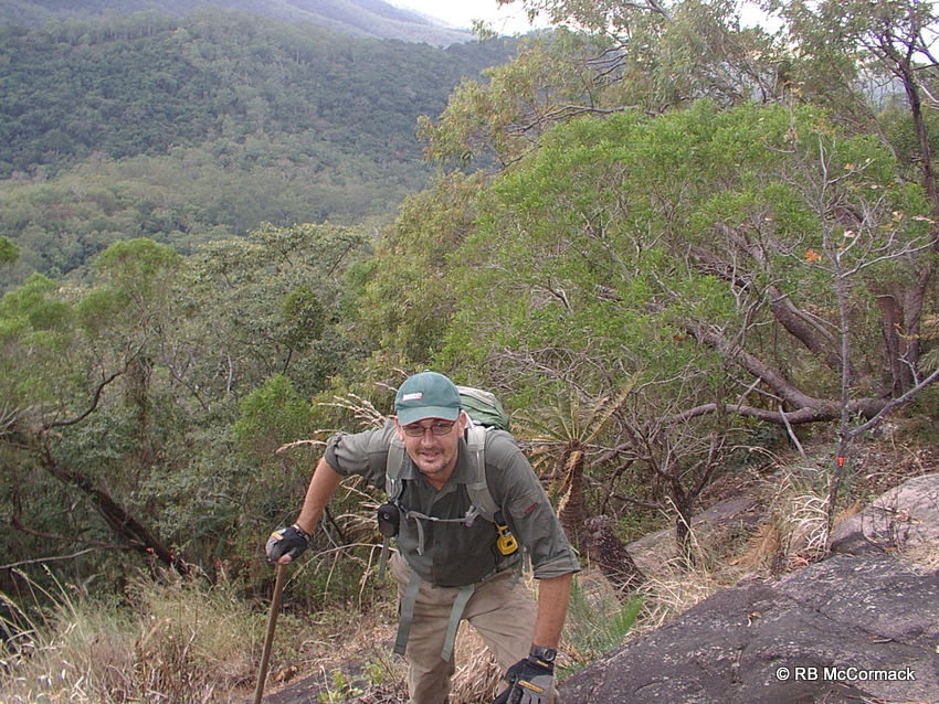 Getting there is not easy; Paul Van der Werf heading up Mount Elliott